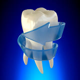 Fresh Repaired Tooth Molar Healthy on blue background Stock Images