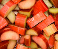 Fresh rhubarb. Closeup of fresh rhubarb sliced and stewing in pot Stock Images