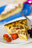 Fresh Rhubarb Cake With Strawberry And Cherry Royalty Free Stock Photography