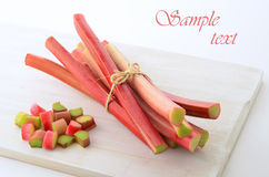 Fresh rhubarb. Fresh picked rhubarb in horizontal format with room for your text Stock Photography