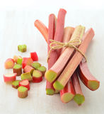 Fresh rhubarb. Fresh picked rhubarb stalks in vertical format Royalty Free Stock Images