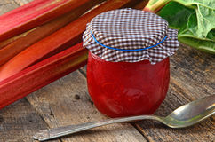 Fresh rhubarb with rhubarb jam Stock Photo
