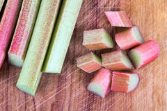 Fresh Rhubarb stalk and pieces Stock Images