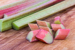 Fresh Rhubarb stalk and pieces Stock Photo