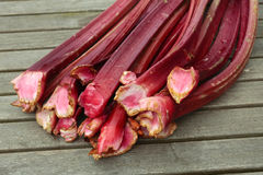 Fresh rhubarb on table Stock Photo