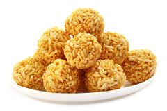 Fresh rice balls with molasses Stock Photography