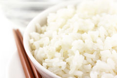 Fresh rice with chopstick Royalty Free Stock Photos