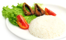 Fresh rice with fried hilsa Stock Photo