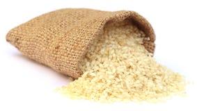 Fresh rice in sack bag Royalty Free Stock Image