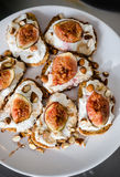 Fresh ricotta ans baked figs sandwich Royalty Free Stock Photography