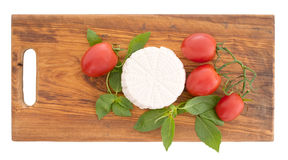 Fresh ricotta cheese with herb basil and tomatoes on rustic wood. Stock Image