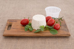 Fresh ricotta from the mould, mold. Artisan cheese. royalty free stock images
