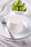 Fresh ricotta on the plate Stock Photography