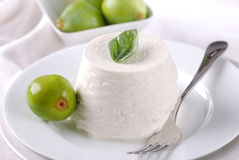 Fresh ricotta on the plate Stock Photo