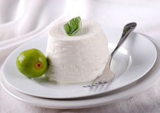 Fresh ricotta on the plate Stock Image