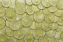 Fresh ring lime. Lime green rings arranged in a row Royalty Free Stock Image