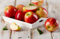 Fresh ripe apples  in wooden white box . Stock Photography