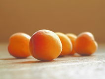 Fresh Ripe Apricots Arranged on Wooden Background in Sunny Day Stock Photo