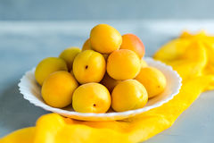 Fresh and ripe apricots on grey background. Season berries, summer food. Some fresh and ripe apricots on the table colored in grey, decorated with napkins Stock Images