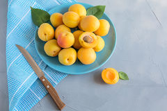 Fresh and ripe apricots on grey background. Season berries, summer food. Some fresh and ripe apricots on the table colored in grey, decorated with napkins Stock Photo