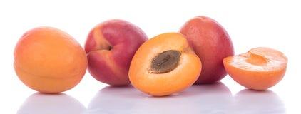 Fresh ripe apricots. Isolated on white Stock Photo