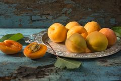 Various Fresh ripe apricots on wooden surface leaves fruits apricots on board cut apricots in half. Light blue rustic wood backgro. Fresh ripe apricots on wooden Stock Photography