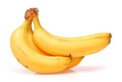 Fresh ripe bananas bunch isolated on white background. Bananas bunch isolated on white background Royalty Free Stock Photo