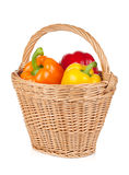 Fresh ripe bell peppers in basket Stock Photography