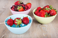 Fresh ripe berries: strawberry, raspberry, blueberry and red cur Royalty Free Stock Images