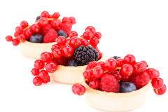 Fresh ripe berries in tartlets Royalty Free Stock Photography