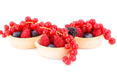 Fresh ripe berries in tartlets Royalty Free Stock Images