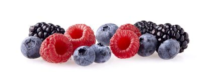 Fresh ripe berry in closeup. Raspberry, blueberry, blackberry on. White background. Mix berries royalty free stock images