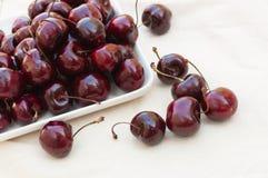 Fresh ripe black cherries Royalty Free Stock Photography