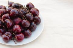 Fresh ripe black cherries Stock Photo