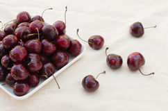 Fresh ripe black cherries Royalty Free Stock Images
