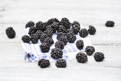 Fresh ripe blackberries on cloth napkin Stock Image