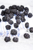 Fresh ripe blackberries on cloth napkin close up Stock Photography