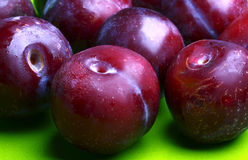 Fresh ripe blue plums Stock Photography