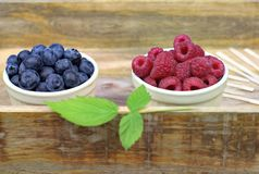 Fresh ripe blueberries and raspberries in two bowls. Healthy food,agriculture,harvest and fruit concept: fresh ripe blueberries and raspberries in two bowls on Stock Images