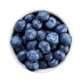 Fresh ripe blueberries in white bowl directly Royalty Free Stock Images