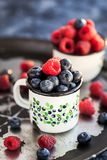 Fresh ripe blueberry and raspberry in mugs. Fresh ripe blueberry and raspberry in enamel mugs, close up Stock Images