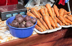 Fresh ripe carrot and beetroot of new harvest ready to sale Royalty Free Stock Photo