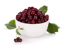 Fresh ripe cherries in bowl Royalty Free Stock Photo