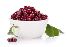 Fresh ripe cherries in bowl Royalty Free Stock Images
