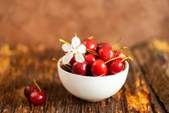 Fresh ripe cherries in a white bowl on aged wooden background. Copy space. Horizontal frame. Selective focus. stock photos