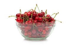 Fresh ripe cherry berry in glass dish Stock Photography
