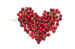 Fresh ripe cherry in shape of heart Royalty Free Stock Photos