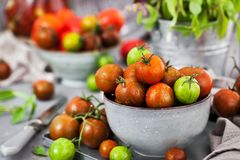 Fresh ripe cherry tomatoes in bowl on gray background royalty free stock photography