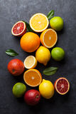 Fresh ripe citruses. Lemons, limes and oranges Royalty Free Stock Images