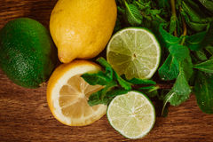 Fresh ripe citruses with mint on garden wood table Royalty Free Stock Photo